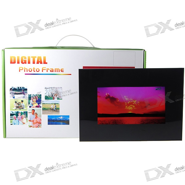 "7"" Wide Screen TFT LCD Desktop Digital Photo Frame with Remote and SD/MMC/MS/USB Slots (480*234px)"
