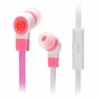 JIAERSHANG Universal Stylish 3.5mm Jack Wired In-ear Stereo Headset w/ Microphone - Pink + White