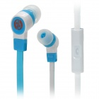 JIAERSHANG Universal Stylish 3.5mm Jack Wired In-ear Stereo Headset w/ Microphone - Blue + White