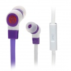 JIAERSHANG Universal Stylish 3.5mm Jack Wired In-ear Stereo Headset w/ Microphone - Purple + White