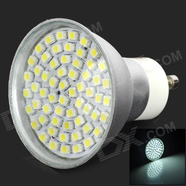 LeXing LX-013-LB GU10 150lm 6500K 60-SMD 3528 LED White Spotlight Bulb w/ Cover - Silver lexing lx r7s 2 5w 410lm 7000k 12 5730 smd white light project lamp beige silver ac 85 265v