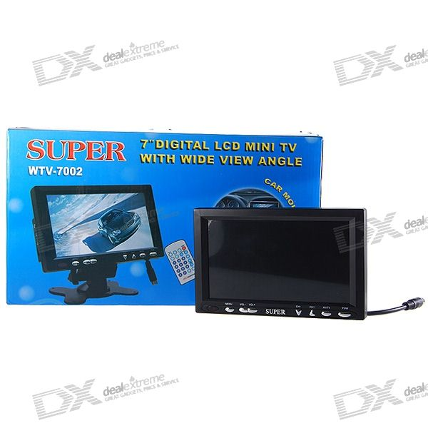 "Dual-Input 7"" In-Car TFT LCD Monitor with Remote Controller and Mount"