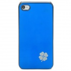 Neomemos Stylish Clover Pattern Protective Aluminum Alloy Back Case for Iphone 4S / 4 - Blue