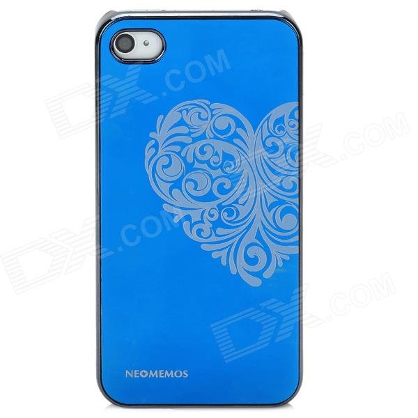 Neomemos Stylish Heart Pattern Protective Aluminum Alloy Back Case for Iphone 4S / 4 - Blue + Silver stylish 3d eagle pattern protective abs pc back case for iphone 4 4s multicolored