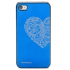 Neomemos Stylish Heart Pattern Protective Aluminum Alloy Back Case for Iphone 4S / 4 - Blue + Silver
