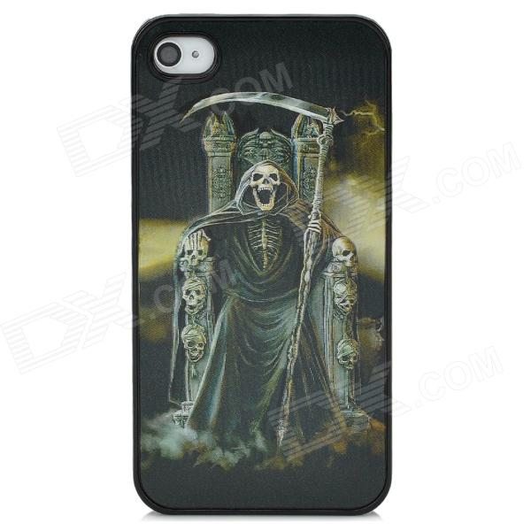Stylish 3D Death Reaper Pattern Protective ABS + PC + PET Back Case for Iphone 4 / 4S - Black wc king cool man relief style protective pc back case for iphone 4 iphone 4s black