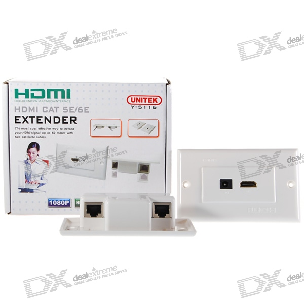 1080p HDMI-over-RJ45 Extender with Wall Panels (Pair)