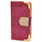 Fashionable Crystal Inlaid Scale Pattern Flip-open PU Leather Case  for Iphone 4S / 4 - Deep Pink