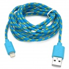 Nylon Housing USB Male to Lightning Data Sync & Charging Cable for iPhone 5 - Blue + Yellow (2m)