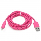 Nylon Housing USB Male to Lightning Data Sync & Charging Cable for iPhone 5 - Deep Pink (2m)
