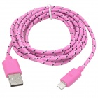 Nylon Housing USB Male to Lightning Data Sync & Charging Cable for iPhone 5 - Pink (2m)