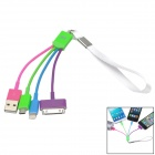 Fashionable Compact 3-in-1 Lightning + Apple 30 Pin + Micro USB Data Sync / Charging Cable (12cm)