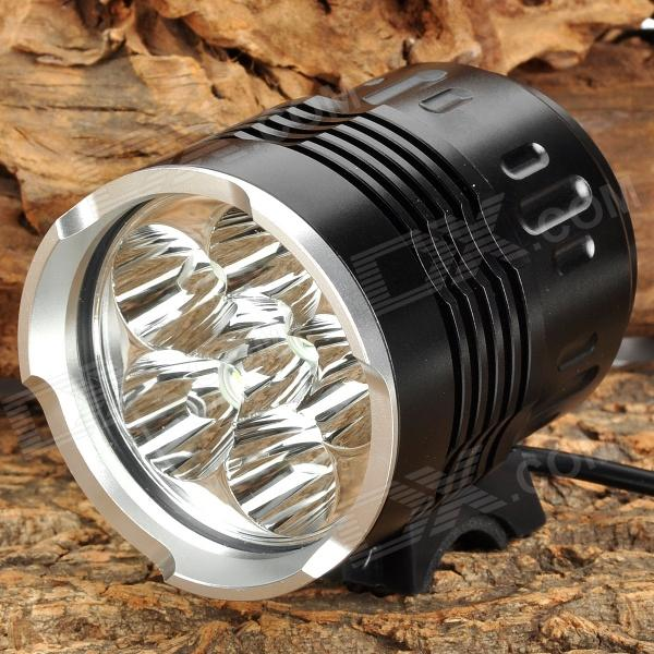 2800lm 4-Mode White Bicycle Light w/ 6 x Cree XM-L T6 - Black (6 x 18650) 2800lm 3 mode white bicycle headlamp w 4 x cree xm l t6 grey
