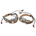 Split Leather Wooden Bead Bracelets for Lovers - Multicolored