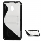 Protective Plastic Back Case for HTC One Mini w/ Stand - Black + Transparent