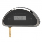 "0.7"" Screen 3.5mm Jack FM Transmitter + Car Charger for Iphone - Black"
