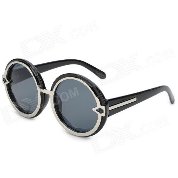 1085C-1 Fashionable Round Lens + Arrow UV400 Protection Sunglasses - Black clip on uv400 protection resin lens attachment sunglasses small