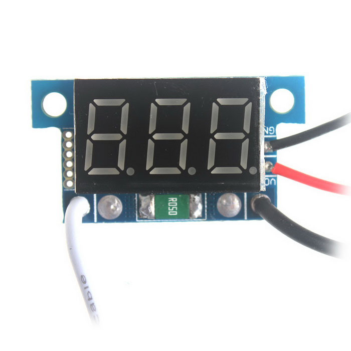 DC0-999mA Digital Green Light Voltage Monitor Current Meter - Black + Blue