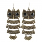 Owl Style Zinc Alloy + Acrylic Earrings - Bronze + Black (Pair)