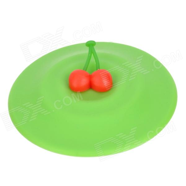 BG Stylish Silicone Drink Cup Cover w/ Two Cherries - Green + Red