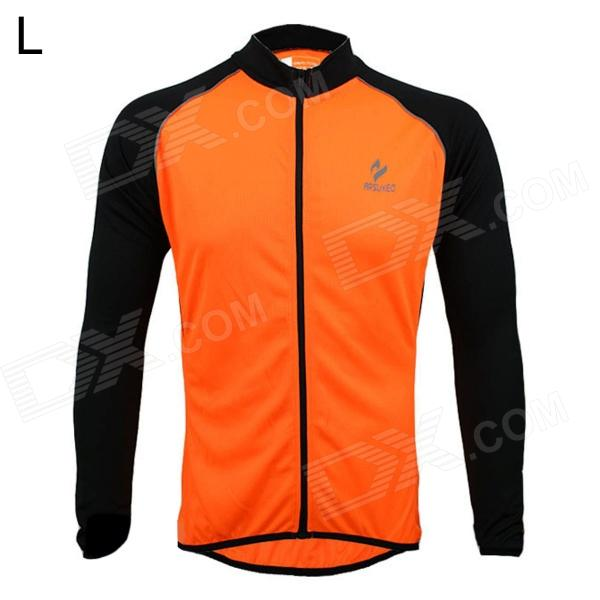 ARSUXEO AR6020 Cycling Quick-drying Polyester Long Sleeves Jacket - Orange + Black (Size L) arsuxeo ar13d3 outdoor sport quick drying cycling polyester jersey for men red white black l