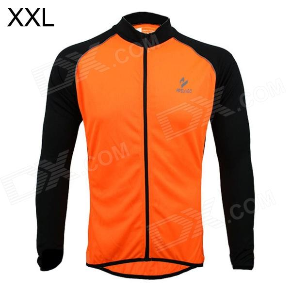 ARSUXEO AR6020 Cycling Quick-drying Polyester Long Sleeves Jacket - Orange + Black (Size XXL) arsuxeo ar13d3 outdoor sport quick drying cycling polyester jersey for men red white black l