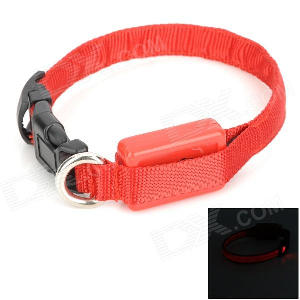 Adjustable 3-Mode LED Pet Outdoor Night Safety Collar w/ Buckle + Switch - Red + Black (2 x CR2032)