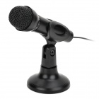 3.5mm Plug Wired PC Computer Microphone w/ Switch / Stand Holder - Black