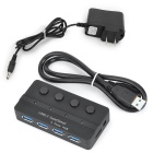USB 3.0 4-Port Hub w/ Switches / 2-Flat-Pin Power Adapter - Black