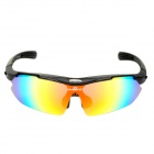 INBIKE 619 Multifunction Cycling UV400 Protection Plastic Sunglasses w/ Replaceable Lens Set - Black