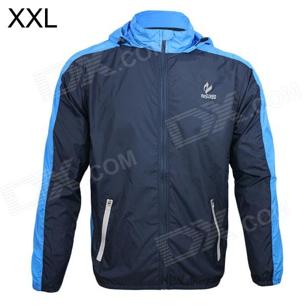 ARSUXEO AR011 Outdoor Sports Waterproof Sunproof Nylon Jacket w/ Hood - Blue + Black (XXL)