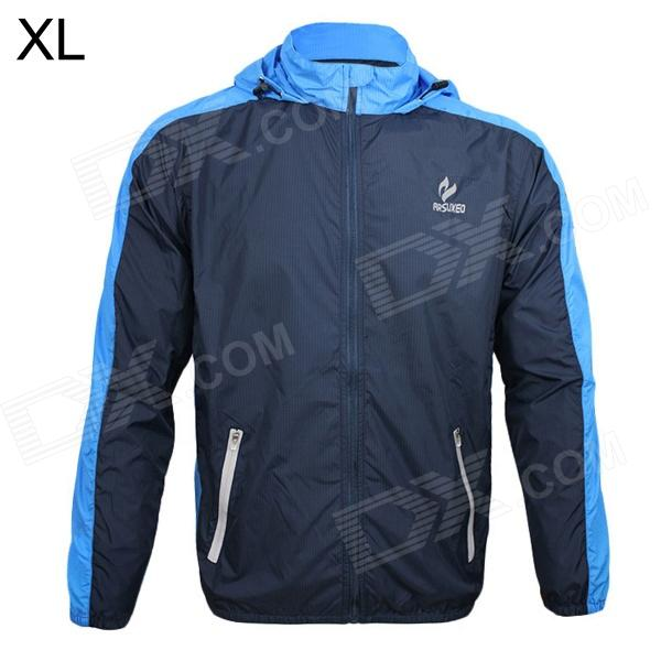 ARSUXEO AR011 Outdoor Waterproof Sunproof Nylon Jacket w/ Hood - Blue + Black (XL)