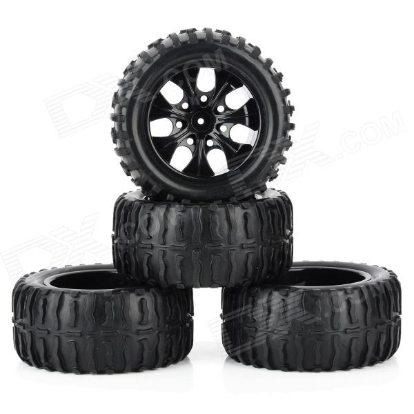 1:10 Scale Replacement Truck Rubber Tyre Tire (4 PCS) diy replacement rubber front back wheel tire for 1 10 model car toy black 4 pcs