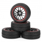 Soft Rubber Tires for 1/10 R/C Highway Flat-road Run Car - Black (4PCS)