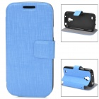 Stylish Protective PU Leather + TPU Case for Samsung Galaxy S4 Mini - Blue + Black