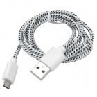 USB to Micro USB Sync Data Woven Cable for Cell Phone - White + Black