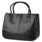 Fashion Zippered PU Hand Bag - Black