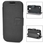 Stylish Protective PU Leather + TPU Case for Samsung Galaxy S4 Mini - Black