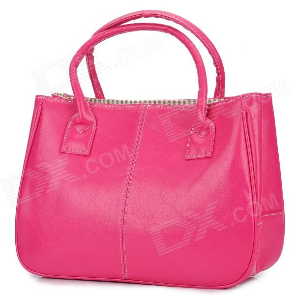 Fashion Zippered PU Hand Bag - Deep Pink