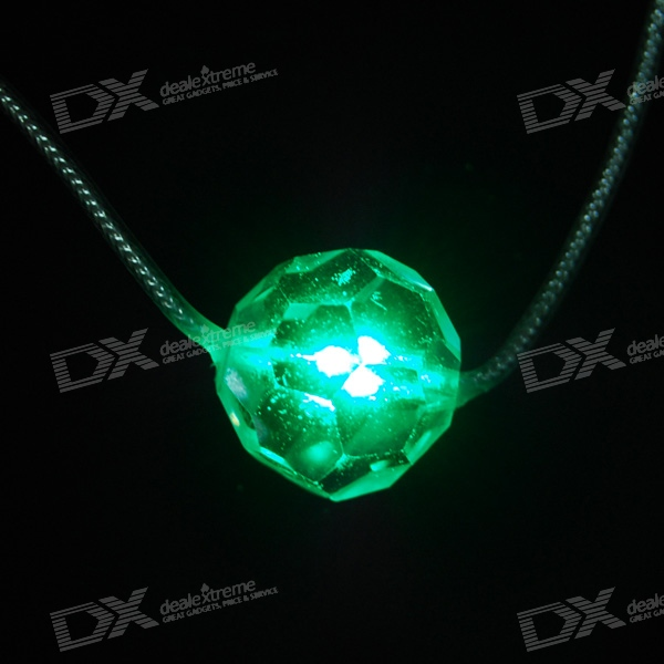 Green Light Glitter LED Necklace (3xAG3 Included)