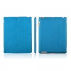 ENKAY ENK-3129 Stylish PU Leather + PC Foldable Case for Ipad 2 / 4 / New Ipad - Blue