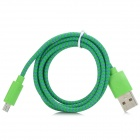 USB Male to Micro USB Male Braided Data Cable - Green + Purple (90cm)