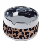 Plastic Leopard Pattern Rotary Top Ashtray - Silver + Black + Gold