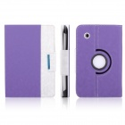 ENKAY Jean Style PU Leather Case w/ Holder for Samsung Galaxy Tab P3100 / P3110 - Purple + White