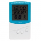 TA368 Memory Digital LCD Indoor / Outdoor Hygrothermograph w/ Time Display - Blue + White
