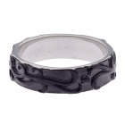 Stylish Noble Texture Copper Aluminum Alloy Ring - Silver + Black (US Size 11)