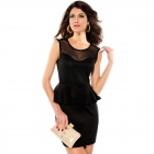 LC2801-2 Sexy And Fashionable Gold Studs Peplum Dress For Woman - Black (Size L)