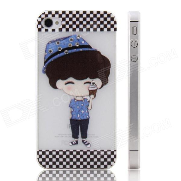 ENKAY Boy Pattern Diamond Encrusted Plastic Case Back Cover for Iphone 4 / 4S - White + Multicolor shining mini cars style protective plastic back case for iphone 4 4s multicolor