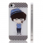 ENKAY Boy Pattern Diamond Encrusted Plastic Case Back Cover for Iphone 4 / 4S - White + Multicolor