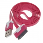 Flat 30-Pin Male to USB 2.0 Data Syn / Charging Cable for iPhone 4 / iPad 3 - Deep Pink (105cm)